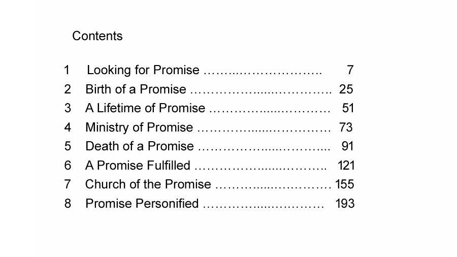 The Promise preview contents page